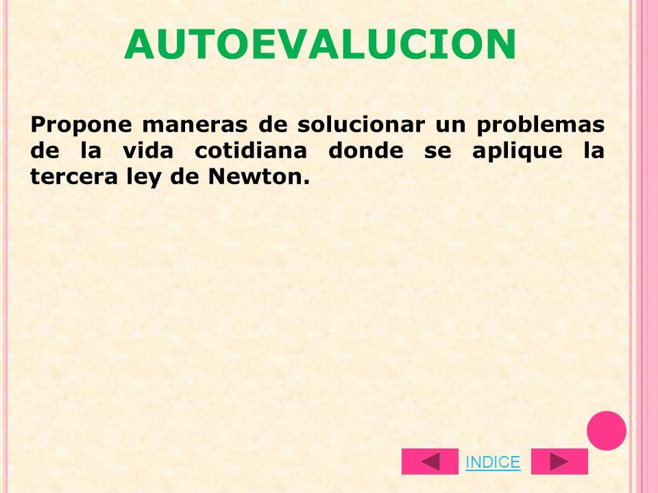 AUTOEVALUCION Propone maneras de solucionar un problemas de la vida cotidiana donde se aplique la tercera ley de Newton.