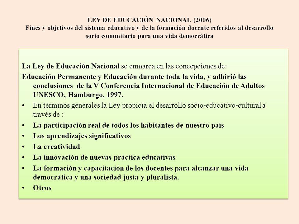La Ley de Educación Nacional se enmarca en las concepciones de: