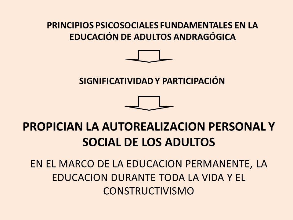 PROPICIAN LA AUTOREALIZACION PERSONAL Y SOCIAL DE LOS ADULTOS