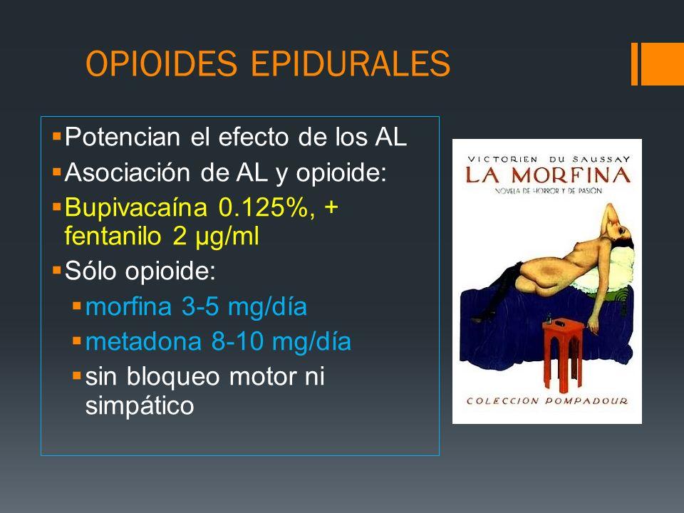 OPIOIDES EPIDURALES Potencian el efecto de los AL