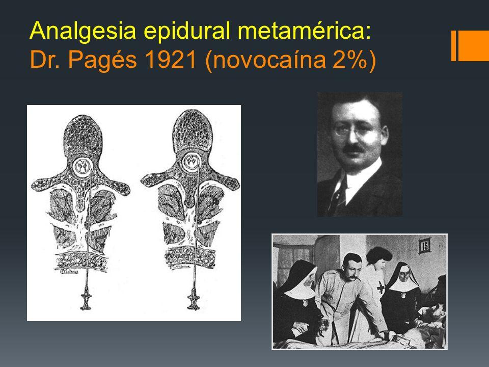 Analgesia epidural metamérica: Dr. Pagés 1921 (novocaína 2%)