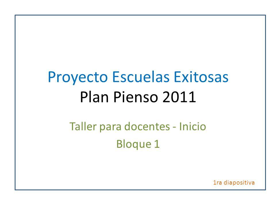 Proyecto Escuelas Exitosas Plan Pienso 2011