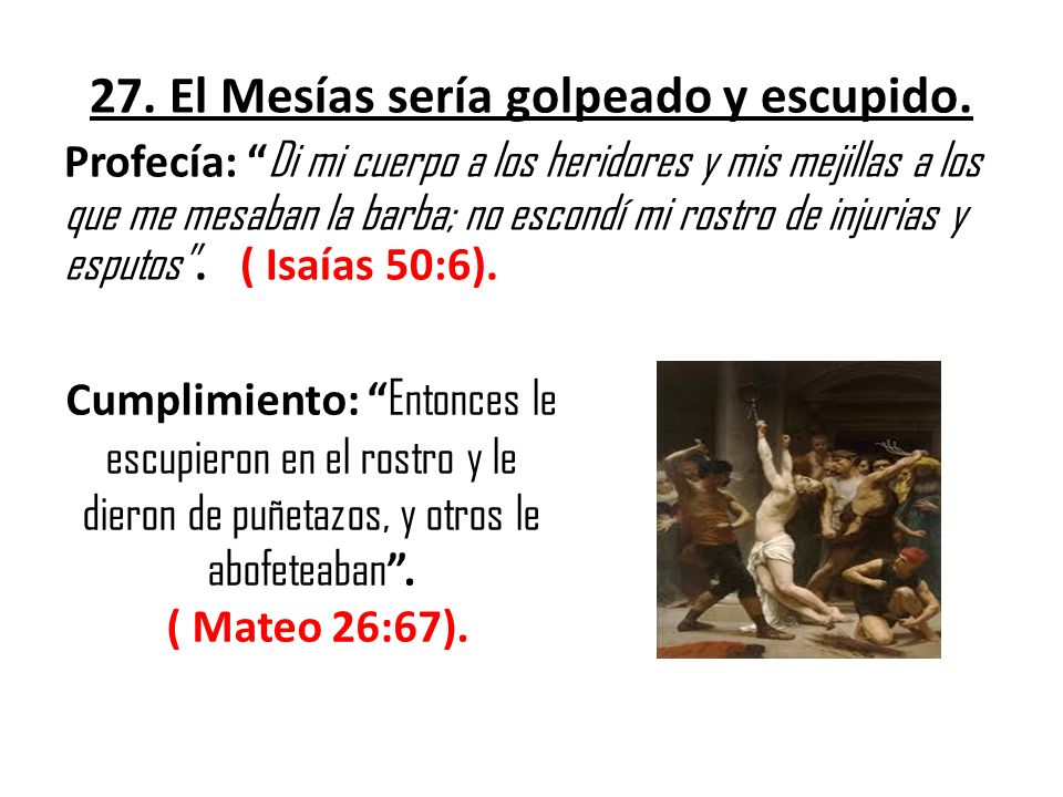 27. El Mesías sería golpeado y escupido.