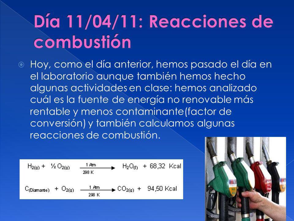 Día 11/04/11: Reacciones de combustión
