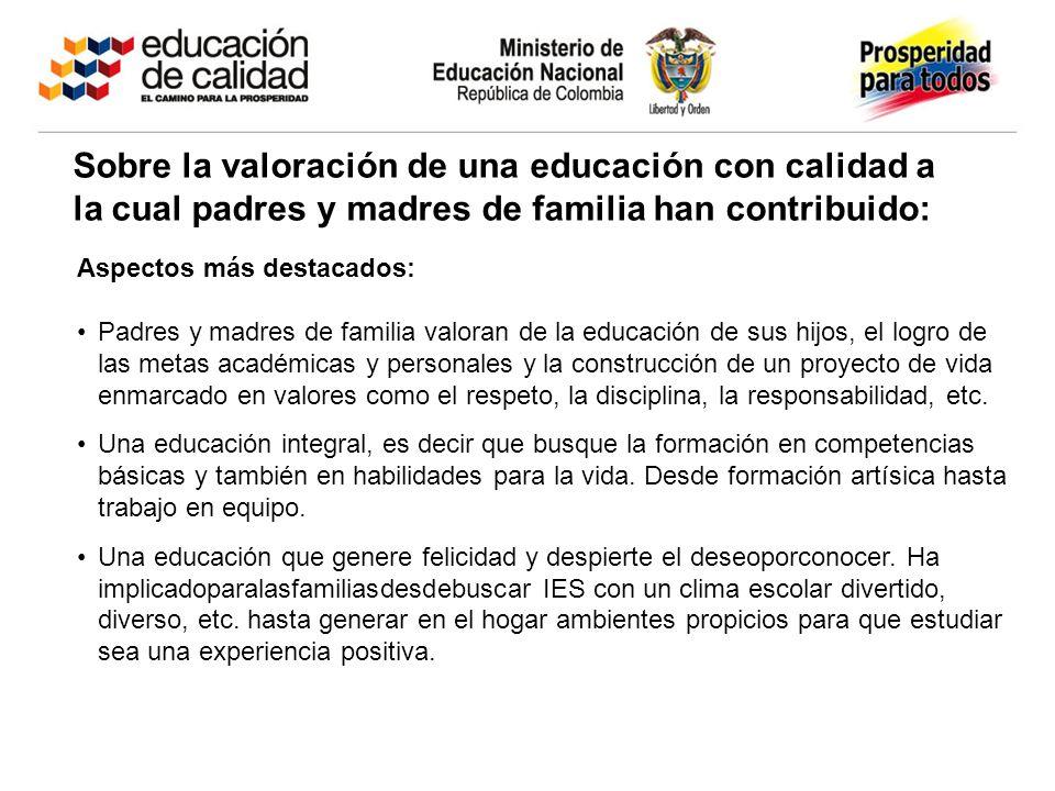 Sobre la valoración de una educación con calidad a la cual padres y madres de familia han contribuido: