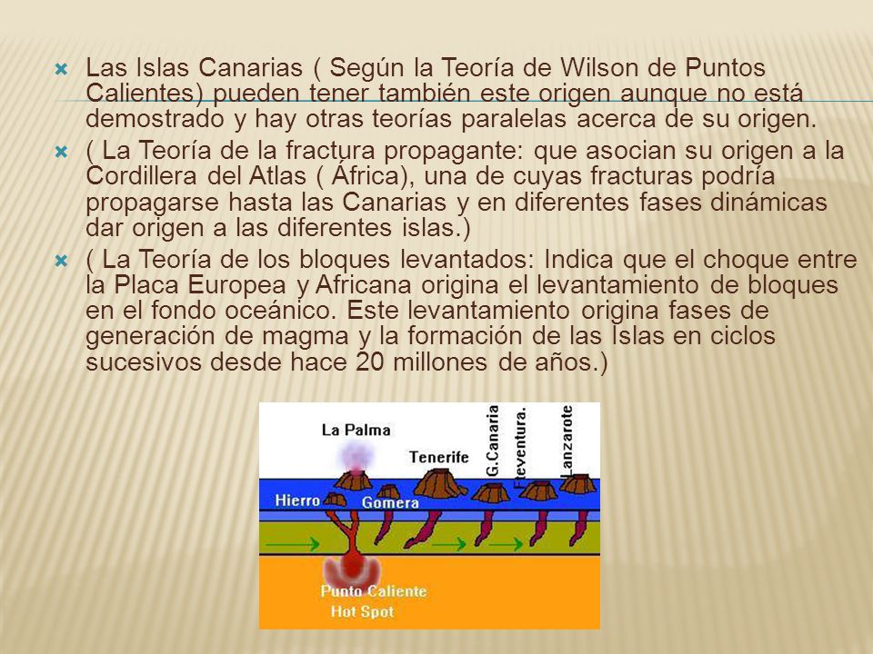 Las Islas Canarias ( Según la Teoría de Wilson de Puntos Calientes) pueden tener también este origen aunque no está demostrado y hay otras teorías paralelas acerca de su origen.