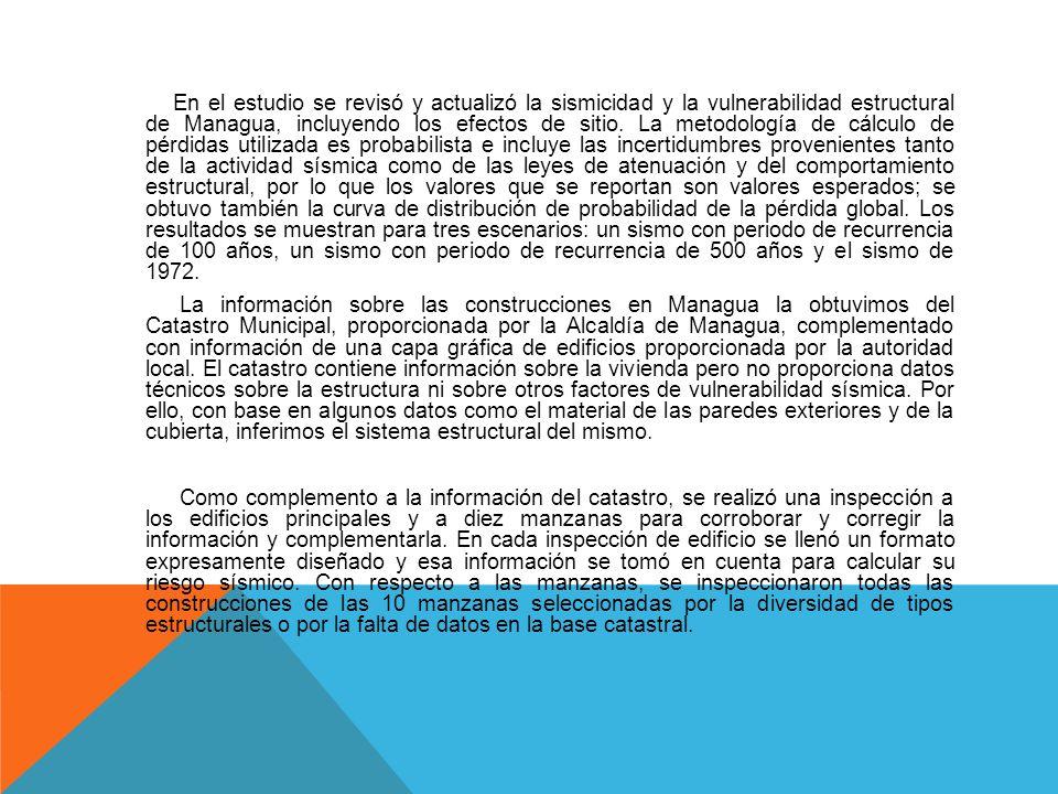 En el estudio se revisó y actualizó la sismicidad y la vulnerabilidad estructural de Managua, incluyendo los efectos de sitio.