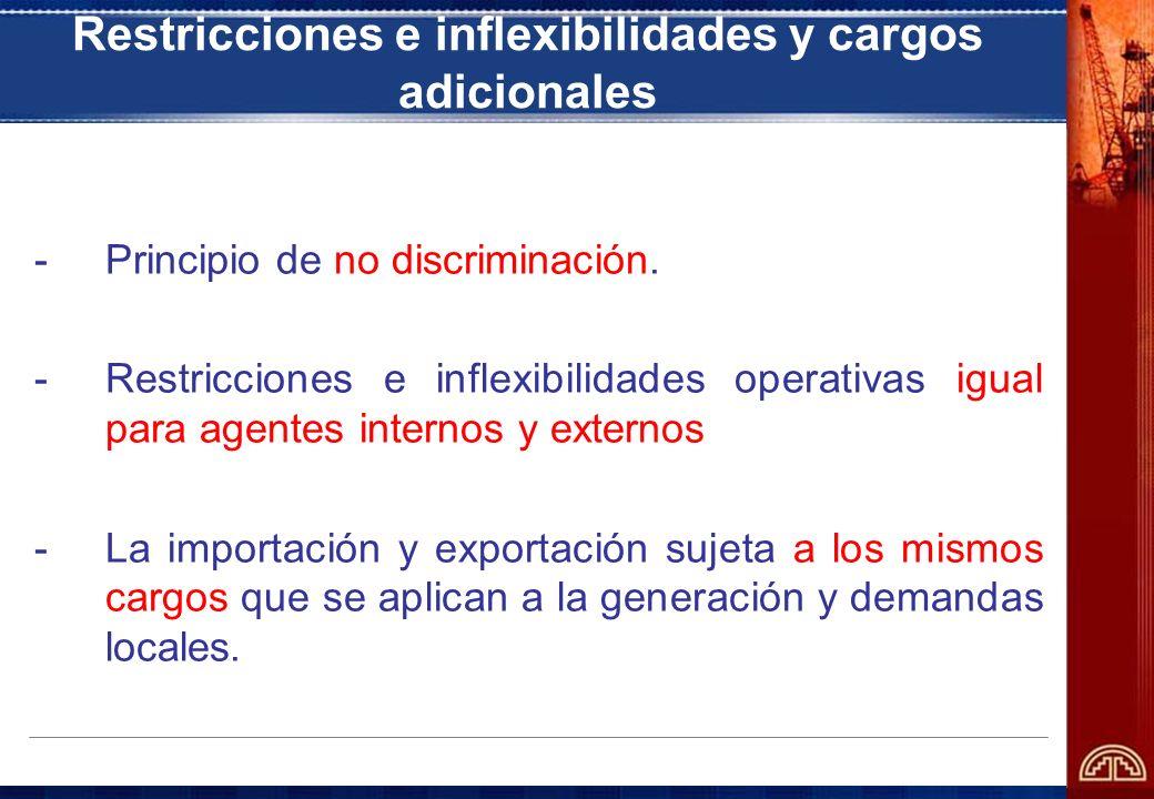 Restricciones e inflexibilidades y cargos adicionales