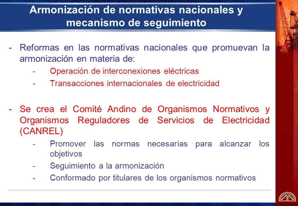 Armonización de normativas nacionales y mecanismo de seguimiento