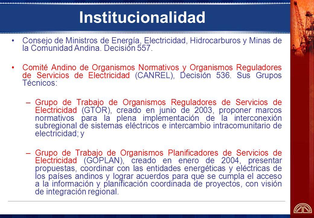 InstitucionalidadConsejo de Ministros de Energía, Electricidad, Hidrocarburos y Minas de la Comunidad Andina. Decisión 557.
