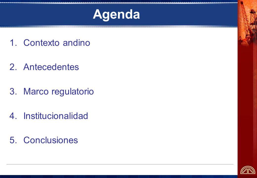 Agenda Contexto andino Antecedentes Marco regulatorio