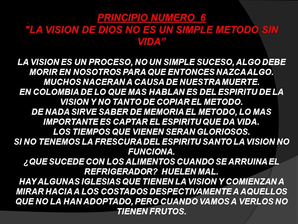 PRINCIPIO NUMERO 6 LA VISION DE DIOS NO ES UN SIMPLE METODO SIN VIDA