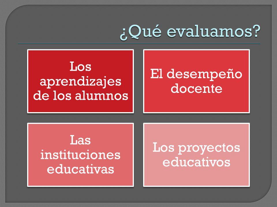 ¿Qué evaluamos Los aprendizajes de los alumnos El desempeño docente