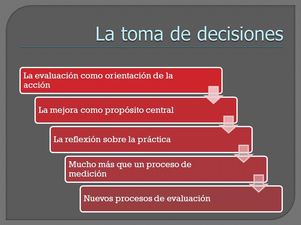 La toma de decisiones La evaluación como orientación de la acción