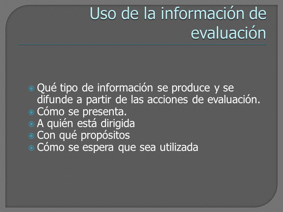 Uso de la información de evaluación