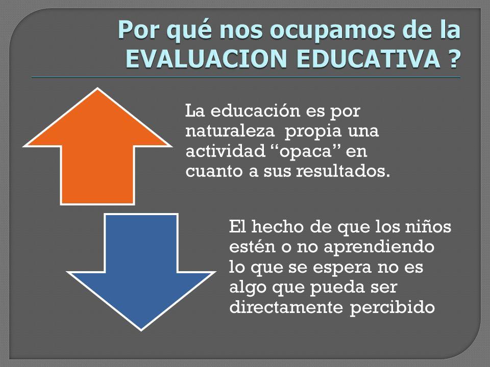 Por qué nos ocupamos de la EVALUACION EDUCATIVA