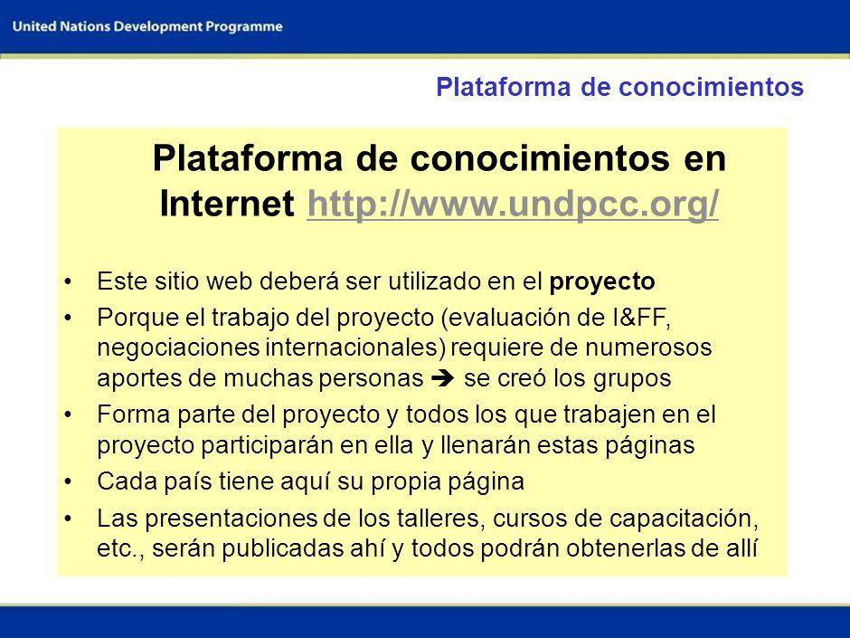 Plataforma de conocimientos en Internet http://www.undpcc.org/