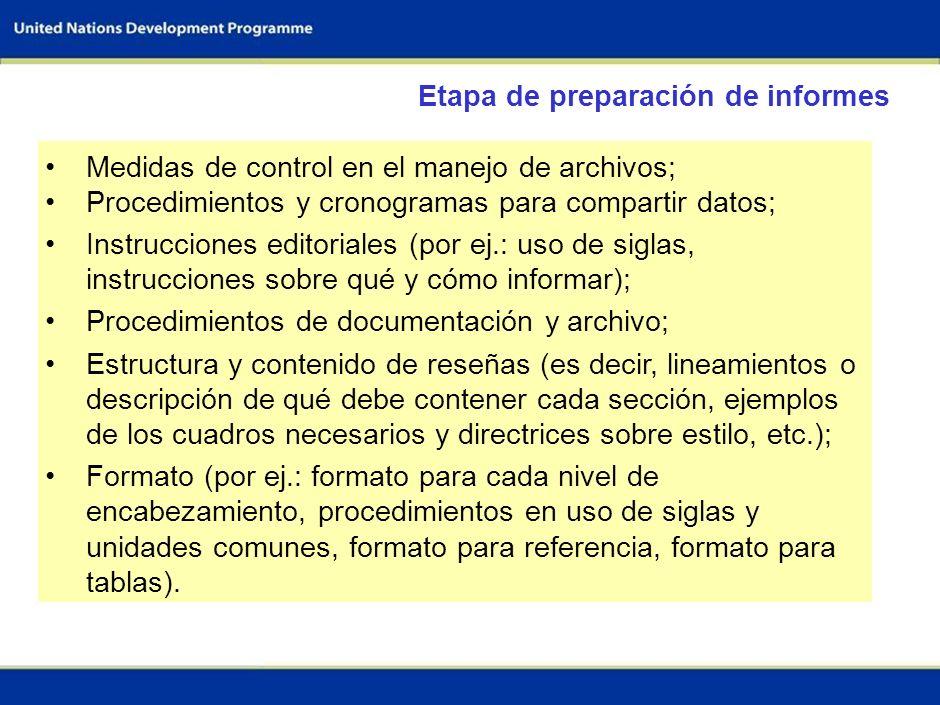 Etapa de preparación de informes