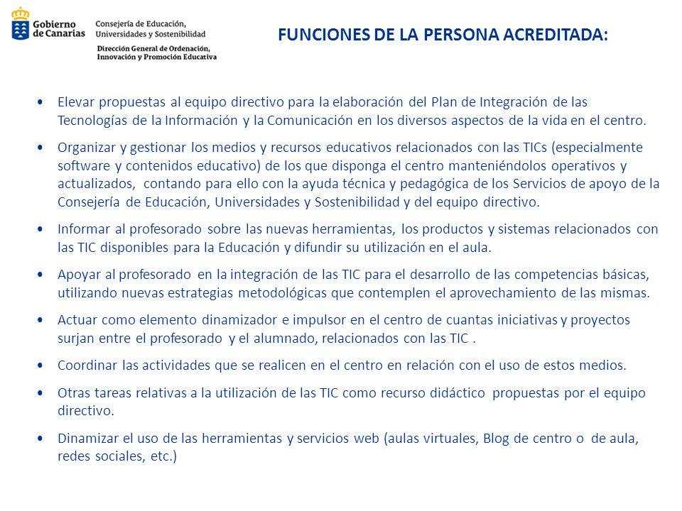 FUNCIONES DE LA PERSONA ACREDITADA: