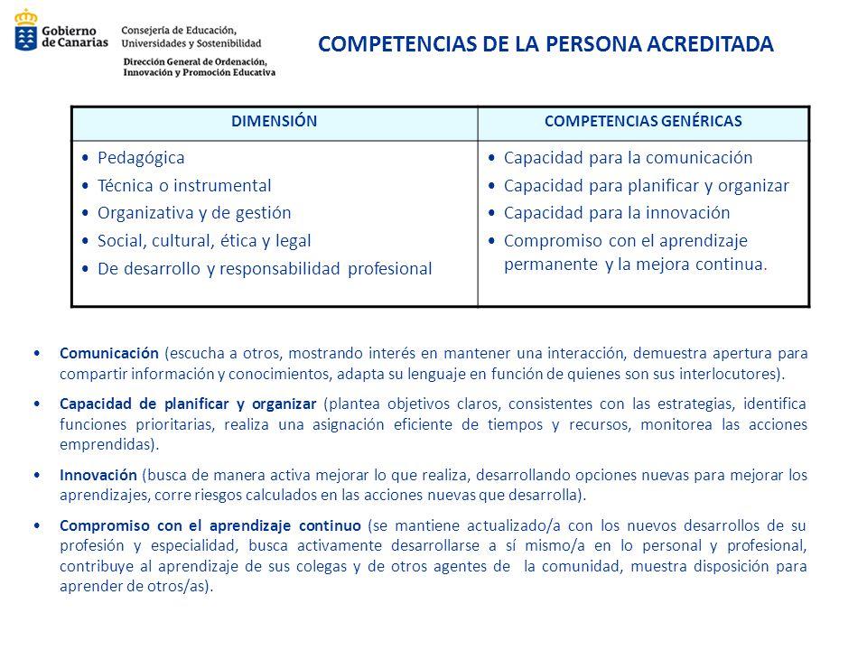 COMPETENCIAS DE LA PERSONA ACREDITADA COMPETENCIAS GENÉRICAS