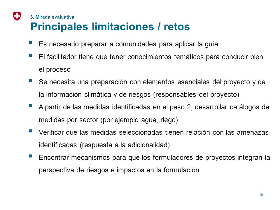 Principales limitaciones / retos