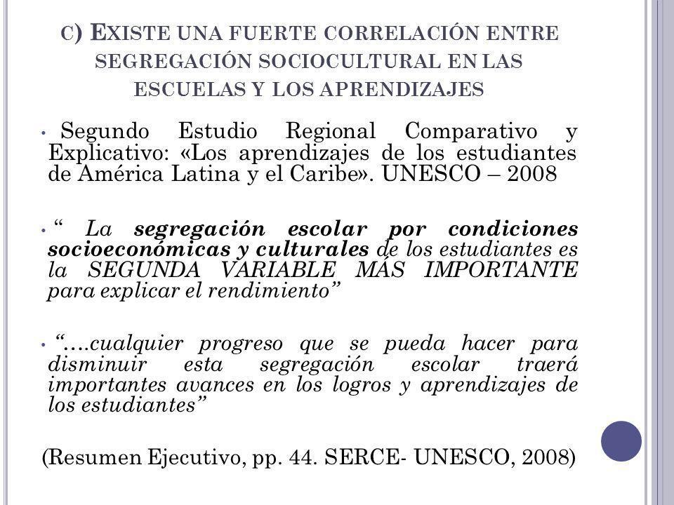 (Resumen Ejecutivo, pp. 44. SERCE- UNESCO, 2008)