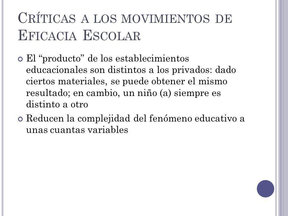 Críticas a los movimientos de Eficacia Escolar