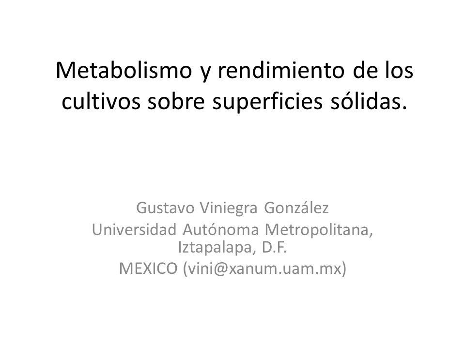Metabolismo y rendimiento de los cultivos sobre superficies sólidas.