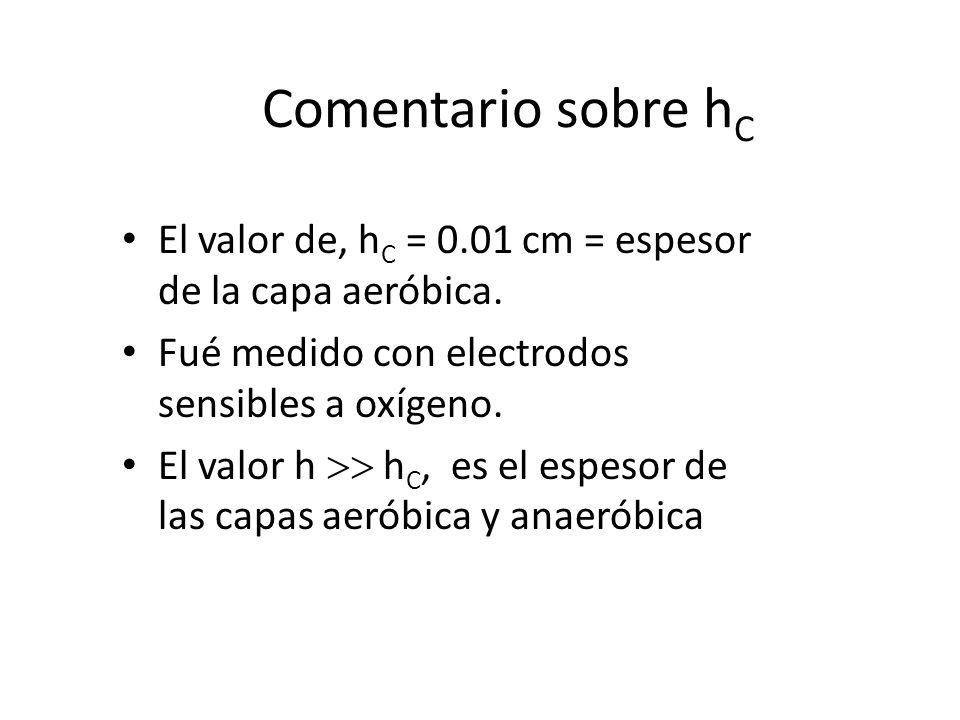 Comentario sobre hC El valor de, hC = 0.01 cm = espesor de la capa aeróbica. Fué medido con electrodos sensibles a oxígeno.