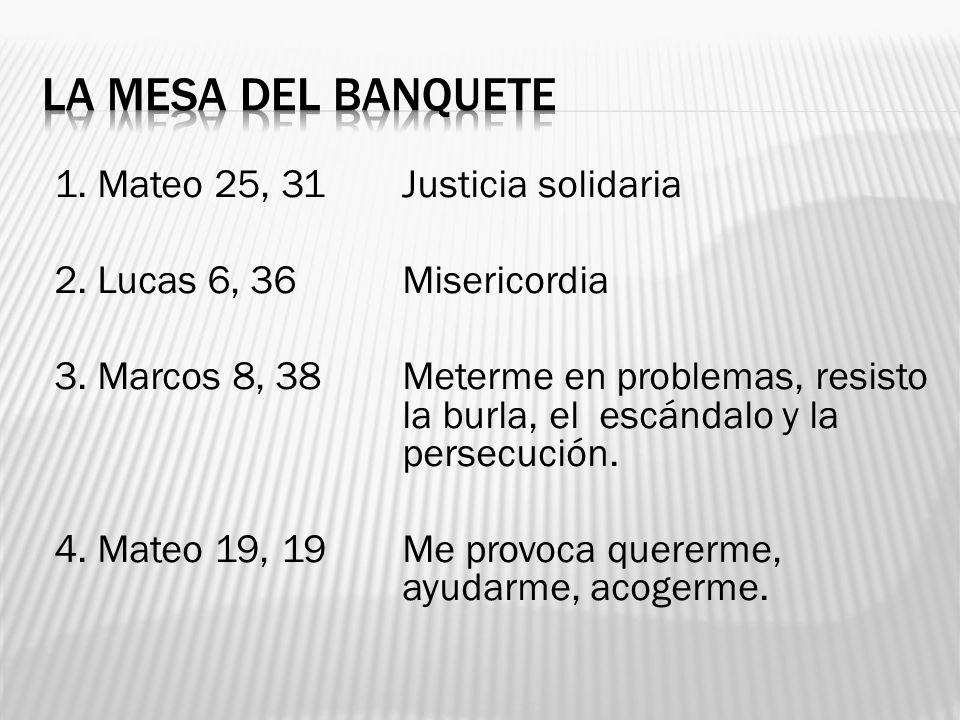 LA MESA DEL BANQUETE 1. Mateo 25, 31 Justicia solidaria