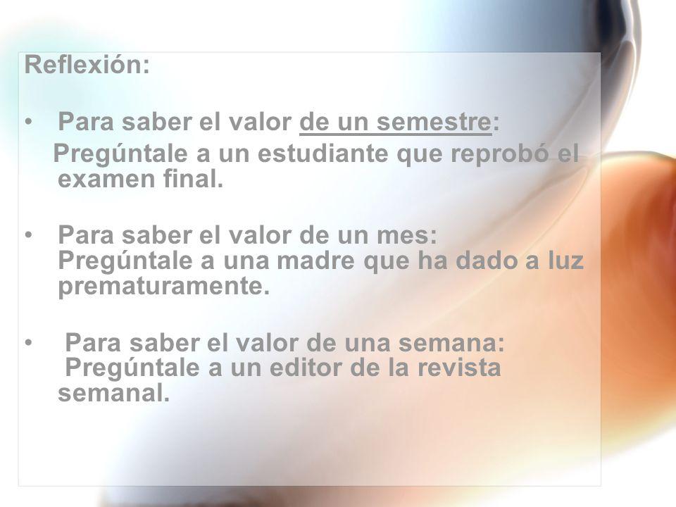 Reflexión: Para saber el valor de un semestre: Pregúntale a un estudiante que reprobó el examen final.