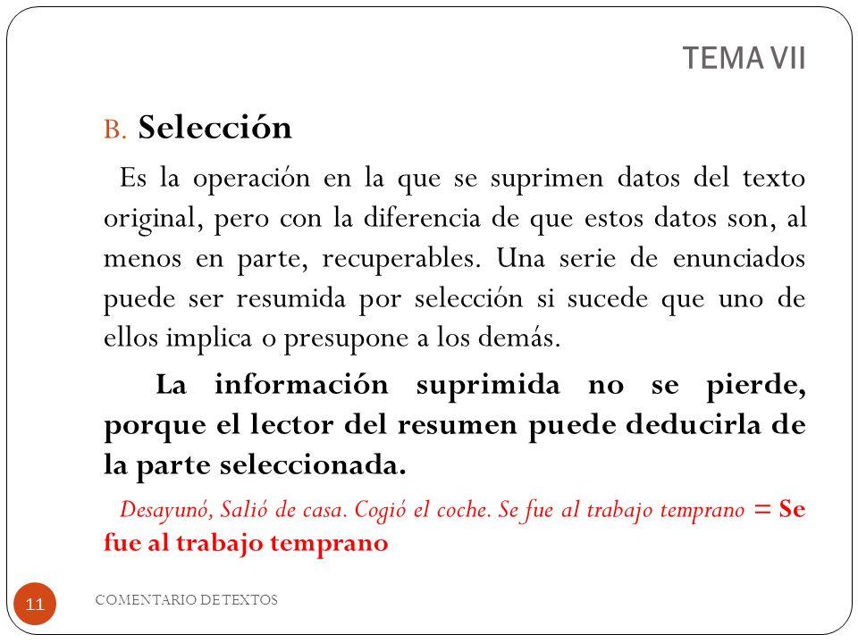 TEMA VII Selección.