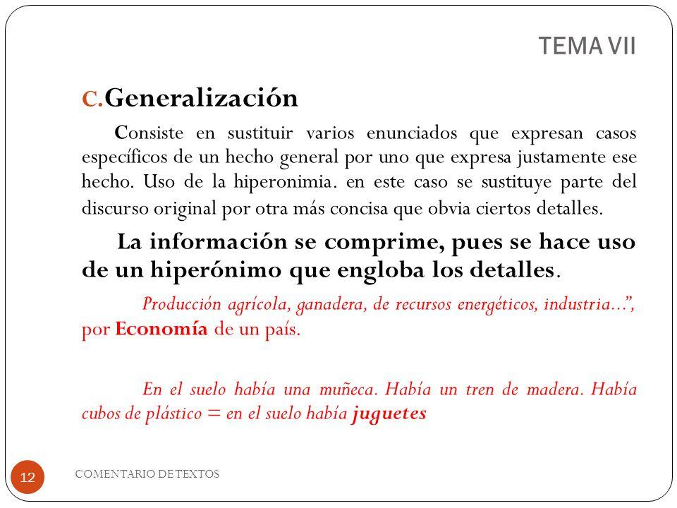 TEMA VII Generalización