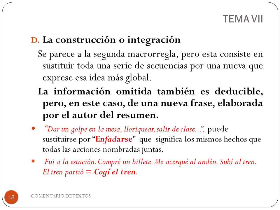 TEMA VII La construcción o integración