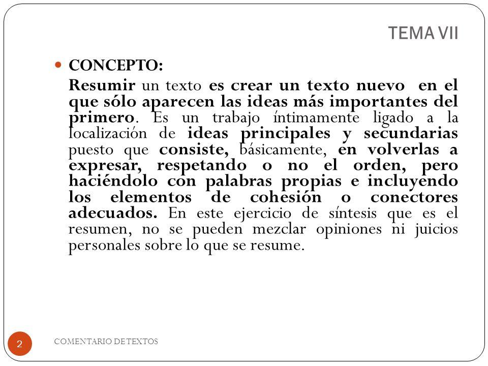TEMA VII CONCEPTO: