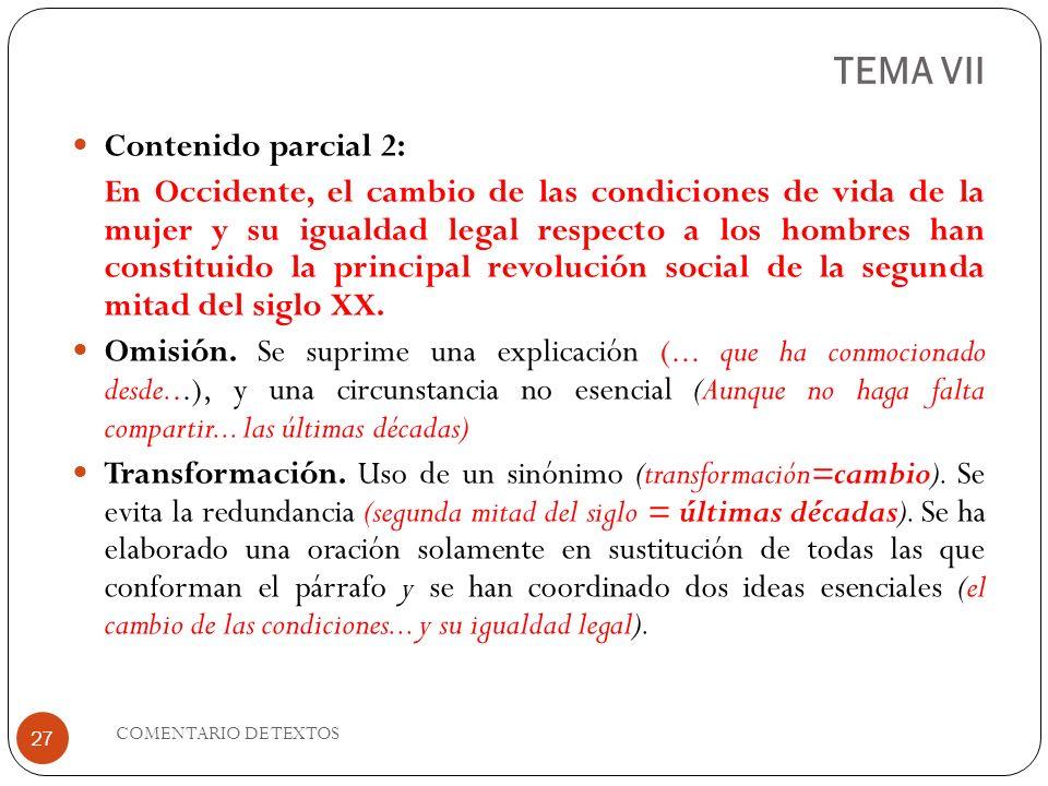 TEMA VII Contenido parcial 2: