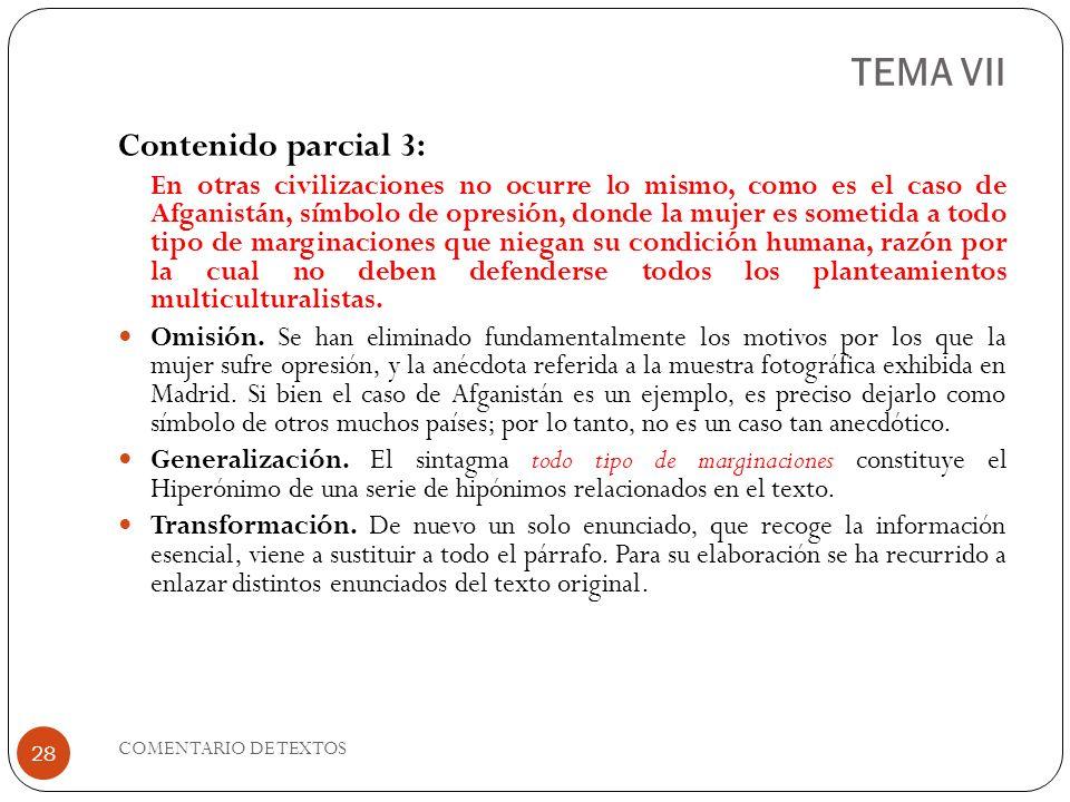 TEMA VII Contenido parcial 3: