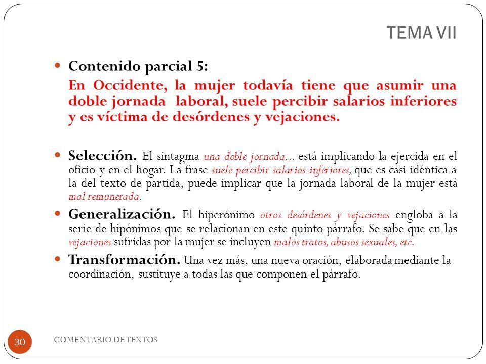 TEMA VII Contenido parcial 5: