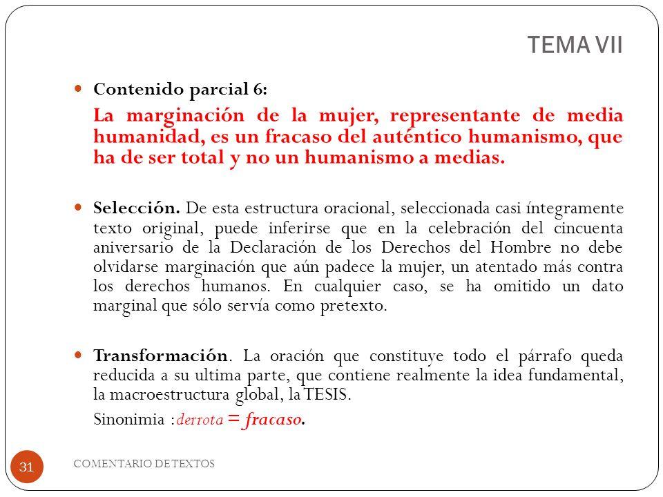 TEMA VII Contenido parcial 6: