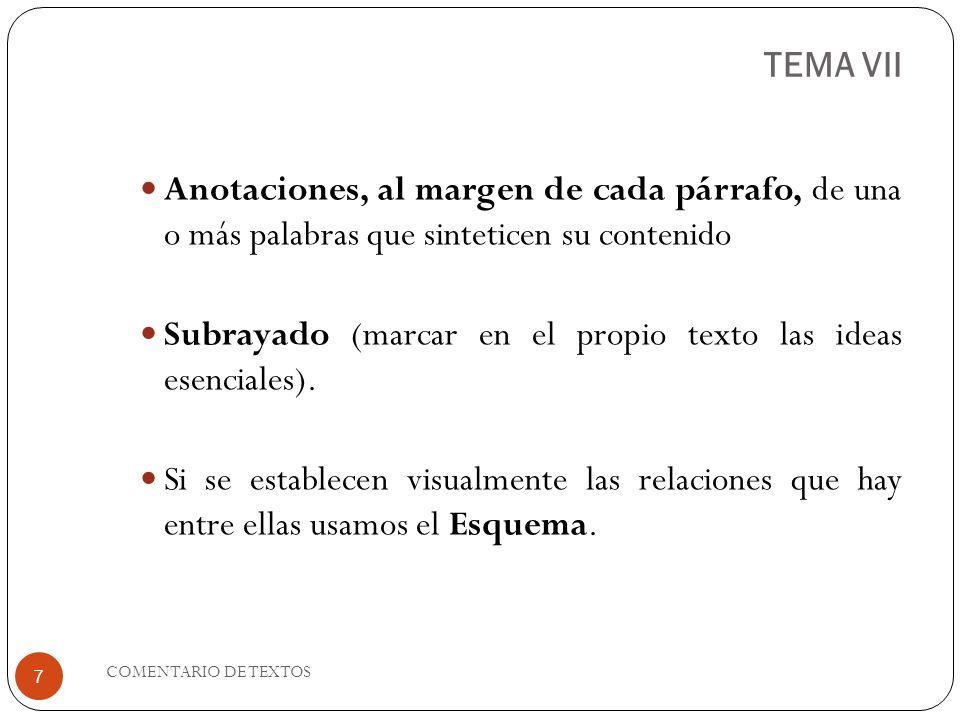 TEMA VII Anotaciones, al margen de cada párrafo, de una o más palabras que sinteticen su contenido.