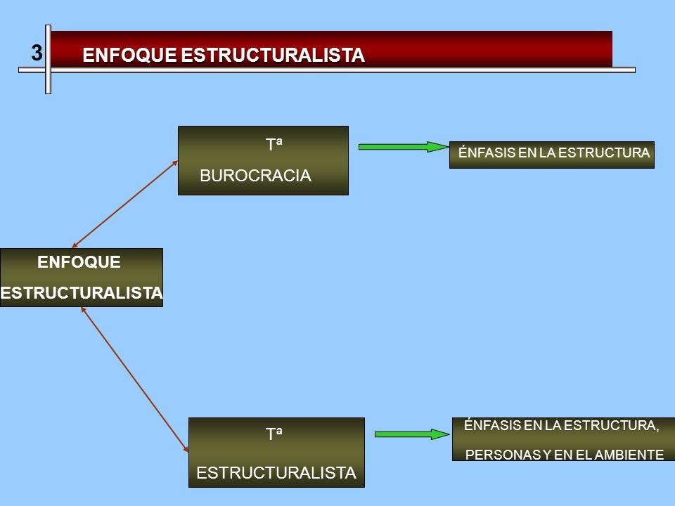 3 ENFOQUE ESTRUCTURALISTA Tª BUROCRACIA ENFOQUE ESTRUCTURALISTA Tª