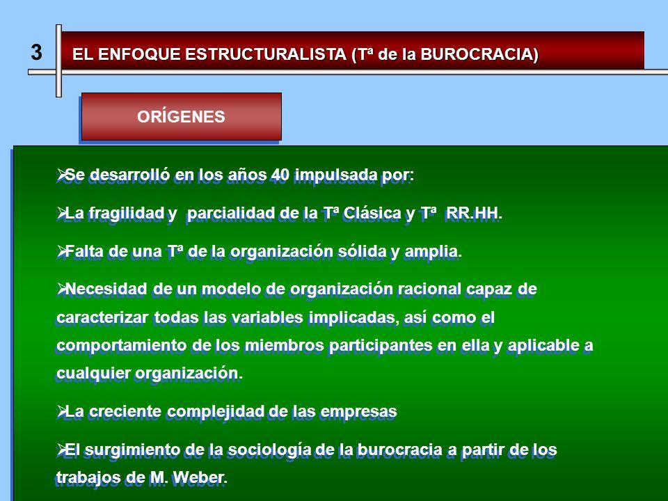 3 EL ENFOQUE ESTRUCTURALISTA (Tª de la BUROCRACIA) ORÍGENES