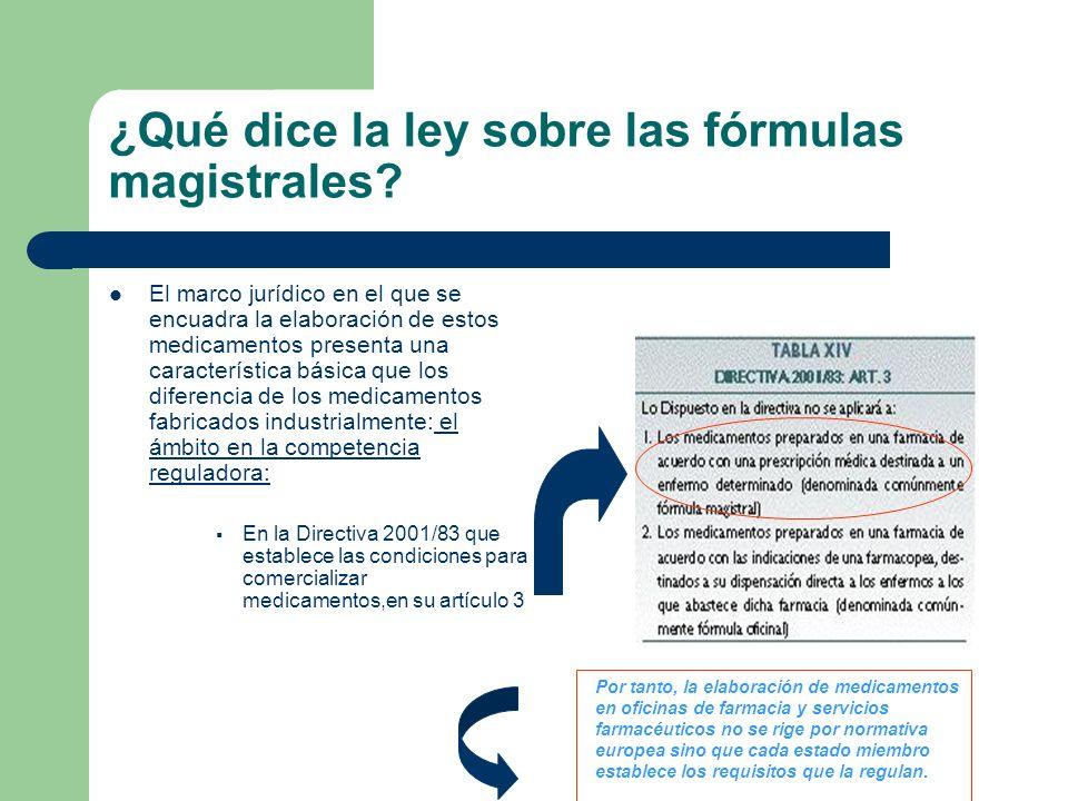 ¿Qué dice la ley sobre las fórmulas magistrales