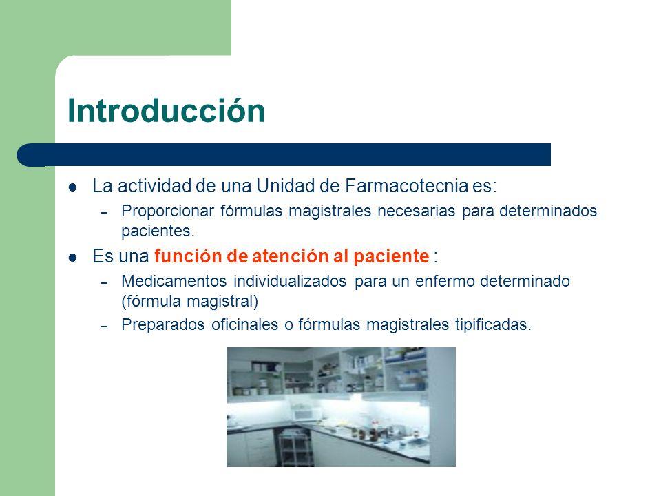 Introducción La actividad de una Unidad de Farmacotecnia es: