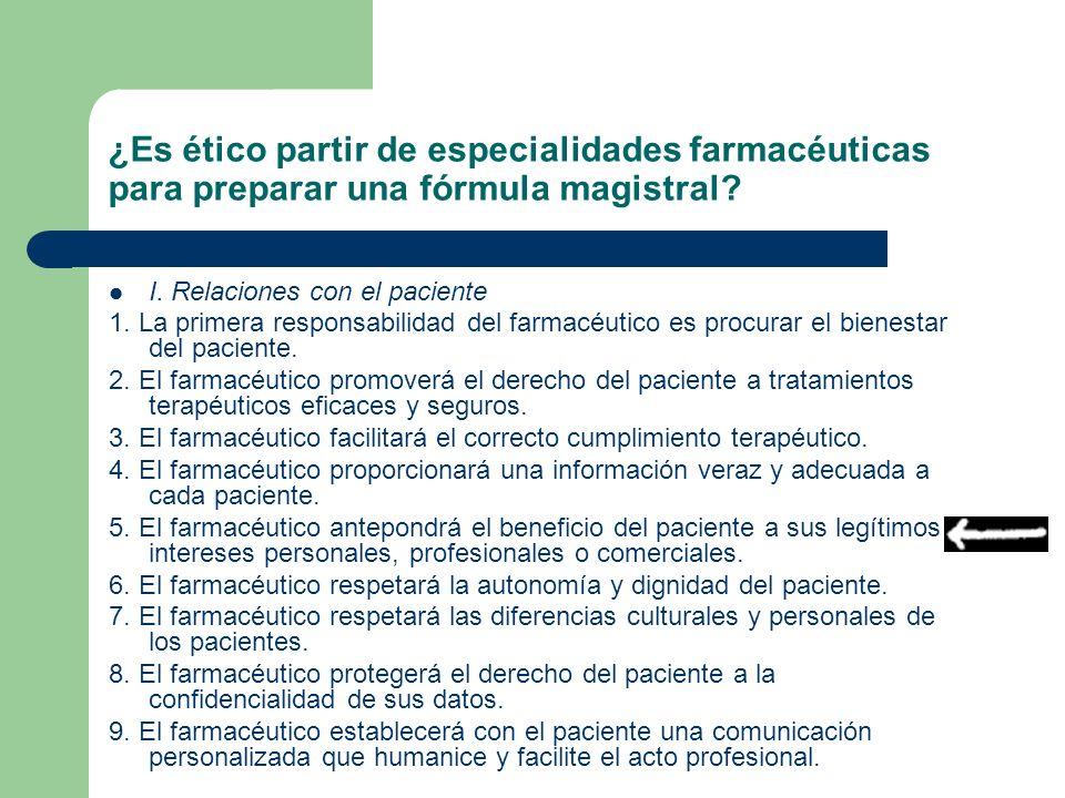 ¿Es ético partir de especialidades farmacéuticas para preparar una fórmula magistral