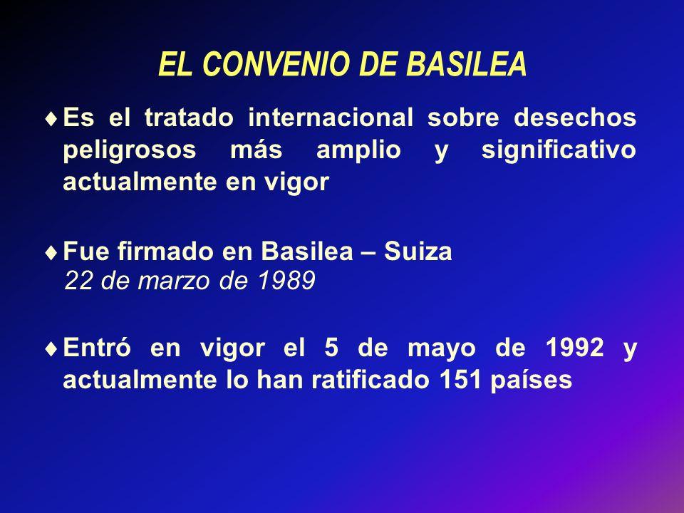 EL CONVENIO DE BASILEA Es el tratado internacional sobre desechos peligrosos más amplio y significativo actualmente en vigor.