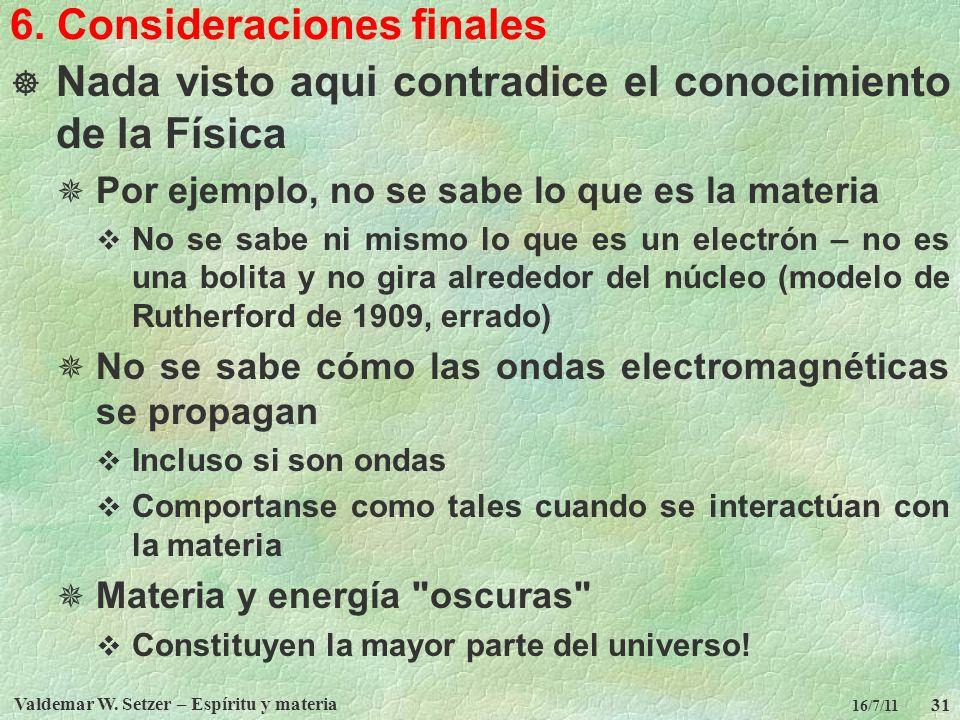 6. Consideraciones finales