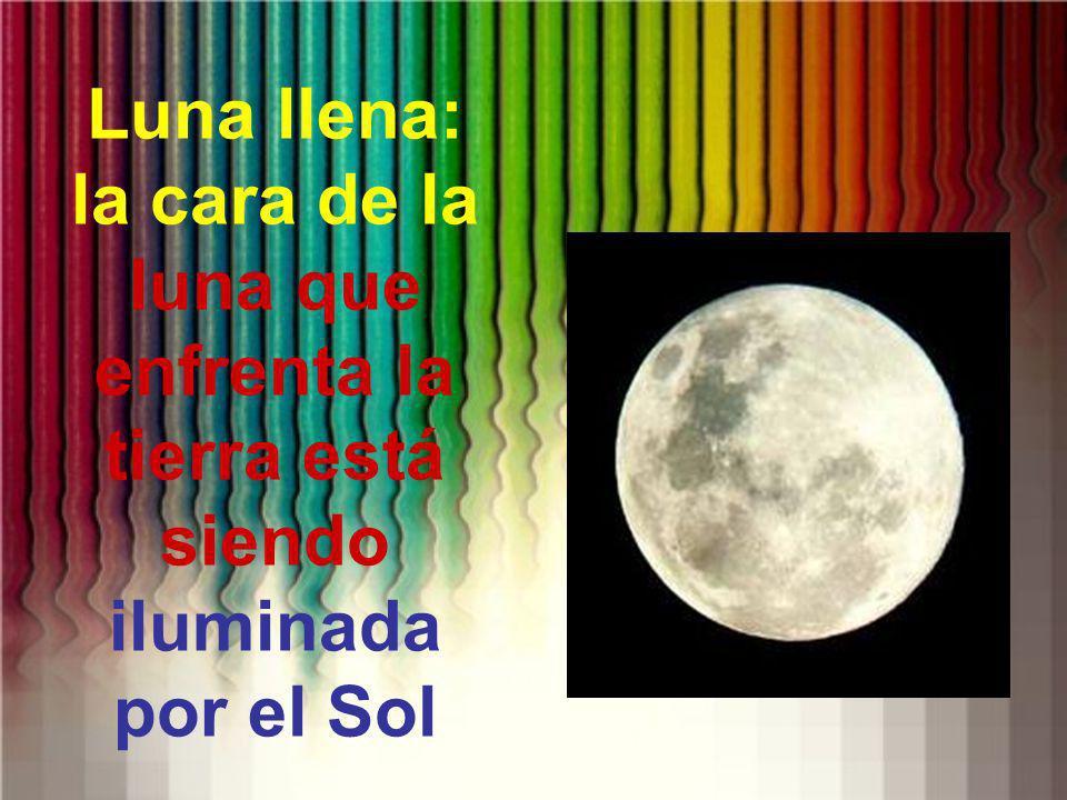 Luna llena: la cara de la luna que enfrenta la tierra está siendo iluminada por el Sol