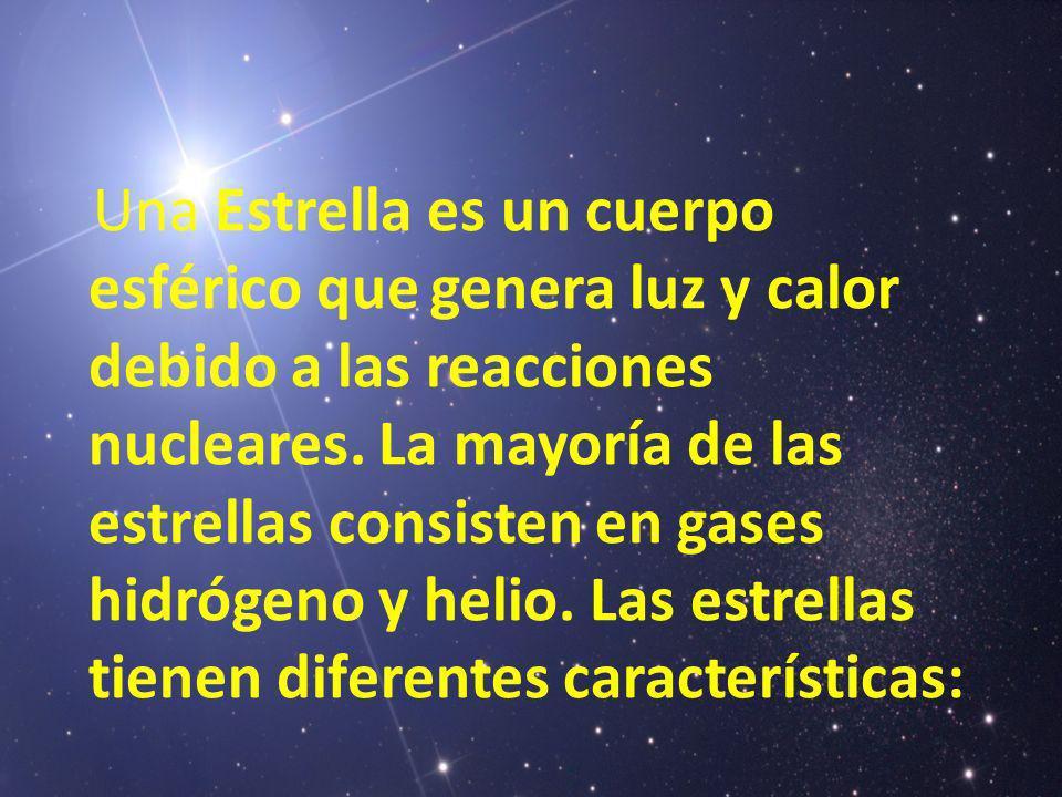 Una Estrella es un cuerpo esférico que genera luz y calor debido a las reacciones nucleares.