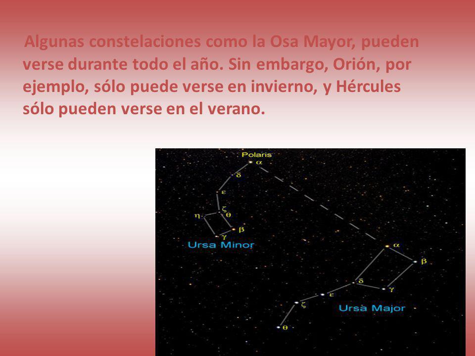 Algunas constelaciones como la Osa Mayor, pueden verse durante todo el año.